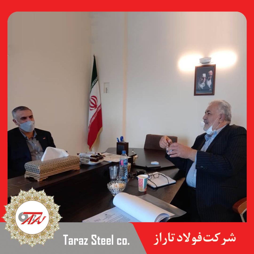 دیدار آقای مهندس رشیدی مدیر عامل شرکت فولاد تاراز با جناب آقای مهندس سهل آبادی رئیس خانه صنعت، معدن و تجارت ایران